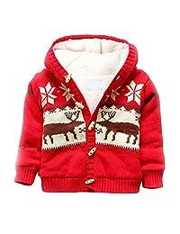 JGJSTAR Baby Toddler Boys Deer Sweater Cardigan 100% Cotton Girls Winter Jacket