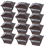 GreenLighting Bronze Aluminum Solar Post Cap Light 4x4 Wood & 6x6 PVC (12 Pack)