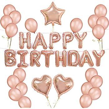 K KUMEED Rose Gold Balloons Decorations Set Happy Birthday Banner 12 Balloon And