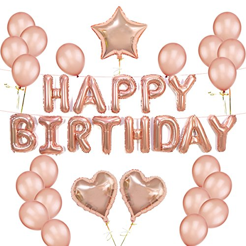 Rose Gold Balloons Decorations Set Happy Birthday Banner 12