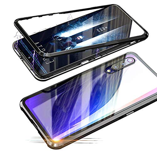 Price comparison product image Fantasydao Compatible with Xiaomi Redmi Note 7 Pro [Magnetic Adsorption Case] Metal Frame [Clear Tempered Glass Back] 360° Bumper Slim Fit [Ultra-Thin] Lightweight Cover for Redmi Note 7 Pro(Black)