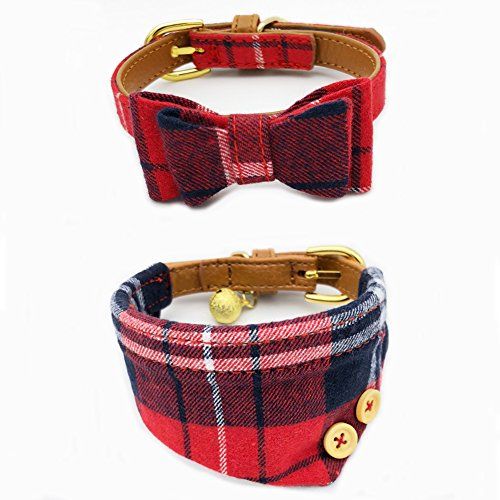 - PetFavorites Bowtie Small Dog Cat Collar with Bell Plaid Bandana Collar for Puppy Kitten - Teacup Yorkie Chihuahua Clothes Costume Outfits Accessories, Adjustable Buckle (Red Plaid Bow + Bandana)