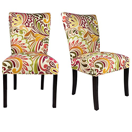Sole Designs The Julia Collection Contemporary Style Floral Pattern Fabric Upholstered Armless Dining Side Chairs (Set of 2), Raspberry (Red Floral Upholstered Chair)