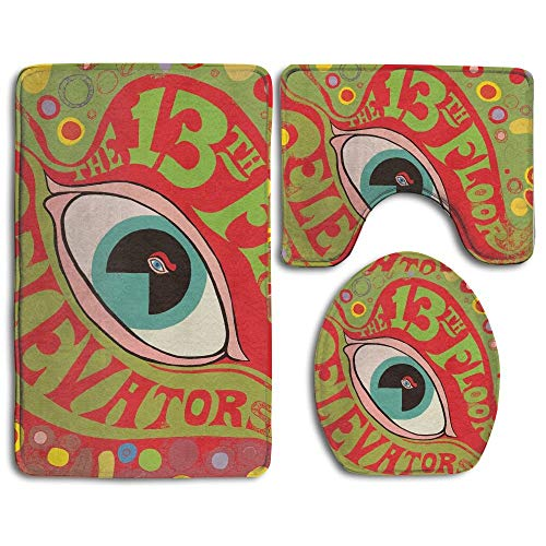 CHUFZSD Psychedelic 13th Floor Elevators Sounds Bathroom Carpet Rug 3 Piece Soft Family Flannel Bath U Contour Non-Slip Mat Lid