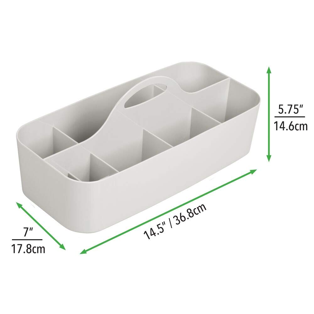 crema Portatrucchi capiente con manico Porta oggetti spazioso per accessori di vario tipo come trucchi asciugamani e utensili da cucina mDesign Portaoggetti bagno in plastica