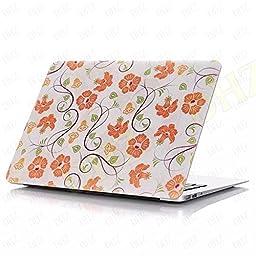 DHZ MacBook Pro 13 Retina Case - Orange Floral Pattern Flowers Ultra Slim Plastic Hard Cover For Apple MacBook Pro 13.3\