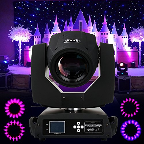 Ridgeyard 230w 7R Beam Zoom Moving Head Gobo Light Touch Screen Housing Spot Light 20ch 16 Prism DMX DJ Christmas Party Stage Light Lamp