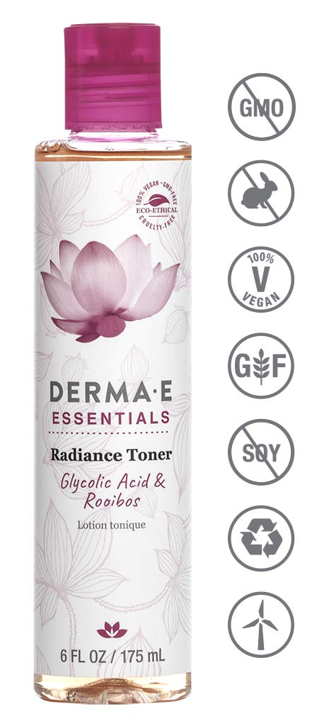 DERMA E Radiance Toner with Gycolic Acid and Rosehip Extract, 6 Fl Oz