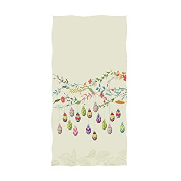 Gym and Spa Naanle Stylish Easter Eggs Flowers in Spring Tree Branch Pattern Soft Absorbent Large Hand Towels Multipurpose for Bathroom 16 x 30,Beige Hotel