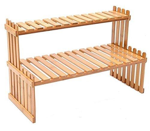 Desktop Natural Bamboo Window Plant Stand, 2 Tier Office Supplies Organizer Rack by KeKaBox
