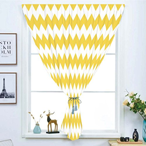 Blackout Window Curtain,Free Punching Magic Stickers Curtain,Yellow Chevron,Old Fashioned Sharp Zigzag Stripes Geometric Sunny Summer Motif Decorative,Earth Yellow White,Paste style,for Living Room (Skinny Stripe Earth)