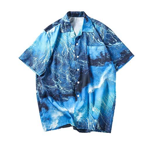Hopeg Mens Summer Shirts Casual Short Sleeve Vacation Beach Tops Loose Casual Blouse Sky Blue