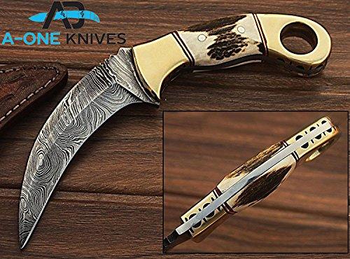 10' Damascus Blade (Stag & Brass Handle 10'' Fixed Blade Custom Handmade Damascus Steel Karambit Hunting Knife 100% Prime Quality Plus Best Quality Gift Blade Sharpener