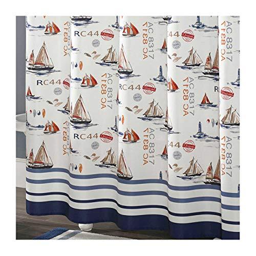 DS BATH Yachots Shower Curtain,Fabric Shower Curtain,Contemporary Shower Curtains for Bathroom,Print Bathroom Curtains,Waterproof Shower Curtain,72