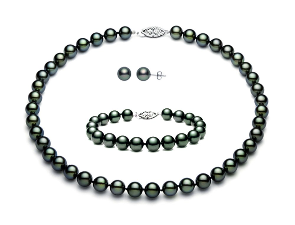 Sterling Silver Black Peacock Freshwater Cultured Pearl Set AAA Quality (5.5-6mm)