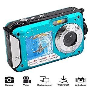51gBZm47DPL. SS300  - Waterproof Digital Camera for Snorkeling 1080P Full HD Underwater Camera 24 MP Video Recorder Selfie Dual Screen