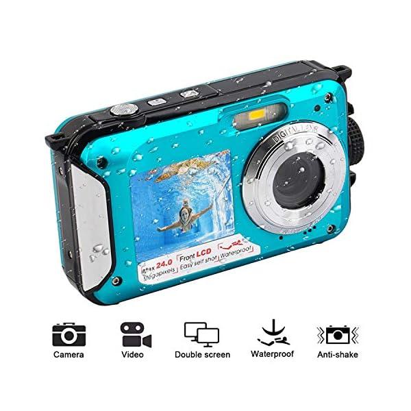 51gBZm47DPL. SS600  - Waterproof Digital Camera for Snorkeling 1080P Full HD Underwater Camera 24 MP Video Recorder Selfie Dual Screen