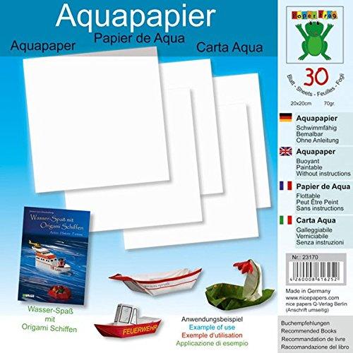 Aquapapier 20 x 20 cm 30 Blatt: Papier für Bücher: Wasser-Spaß mit Origami Schiffen (ISBN 978-3-938127-21-6), Origami Schiffe (ISBN 978-3-938127-04-9) (Origami Schiffe falten aus Aquapapier) Unbekannter Einband – 3. Januar 2013 Q-Verlag Berlin B00AWAQWMS