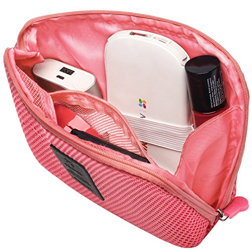 Travel Universal Organizer Bag / Electronics Accessories Case Packing Storage Bag, Multifunctional Shockproof Makeup Pouch, Gadget Bag, Data Cable Travel Case With Mesh (Size L, Red) - Happy Hours