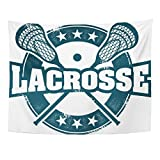 Emvency Tapestry Mandala 50x60 inch Home Decor Lax Vintage Style Lacrosse Sport Stamp Helmet Ncaa Youth College Distressed High For Bedroom Living Room Dorm