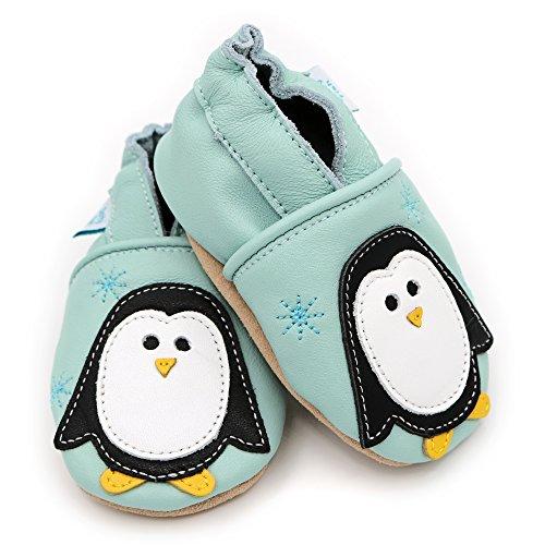 Chaussures de bébé en cuir souple bleu - manchot Noël - Dotty Fish garçons et filles - 0-6 mois à 3-4 ans