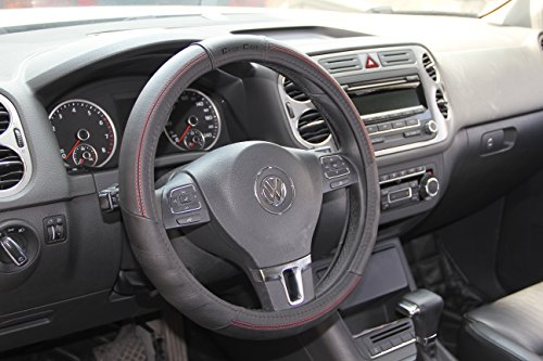 """Jdragon Black & Red Stitch PVC Leather Great Comfort Slip-On Steering Wheel Cover 14.25-15"""" Diameter"""