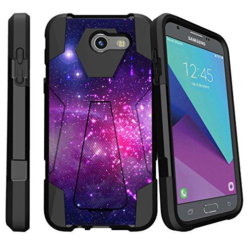 MINITURTLE Design Case Compatible w/ Samsung Galaxy J3 Emerge | J3 Eclipse | Galaxy Luna Pro, Hybrid Layers Case with Built-In Kickstand - Heavenly Stars (Stars Heavenly)