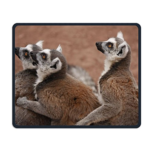Brown Lemurs Zoo Non-Slip Personality Designs Gaming Mouse Pad Black Cloth Rectangle Mousepad Art Natural Rubber Mouse Mat with Stitched Edges 9.811.8 (Brown Lemur)