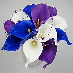 Lily Garden 30 Stems Real Touch Calla Lily Purple Blue White Flowers Wedding Bouquet 88