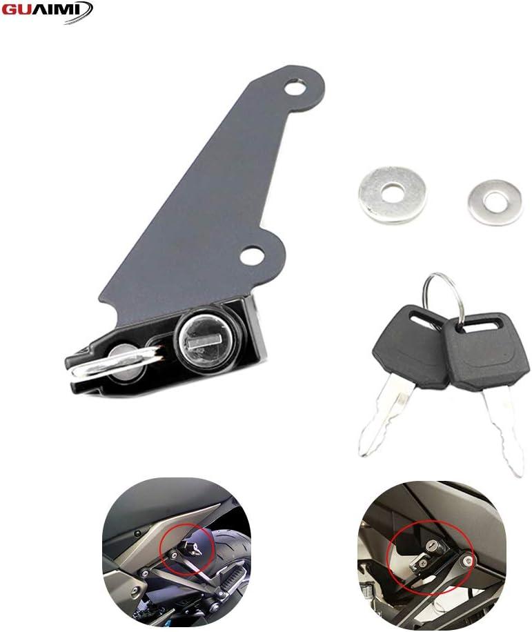 Motorcycle Anti-Theft Helmet Lock Left Side with Keys for Kawasaki Z1000 2010-2013 Ninja 1000 2010-2017-Black
