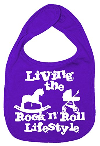 Dirty Fingers, Living the Rock 'n' Roll Lifestyle, Baby Unisex Bib, Purple