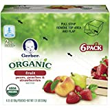 Gerber Organic 2nd Food Pouches, Fruit and Veggie Variety Pack 1, 3.5 Ounce,18 count