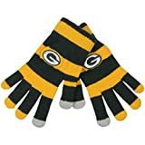 Official NFL Football Licensed Knit Stripe Glove with Texting Tips, One Size, GREEN BAY PACKERS