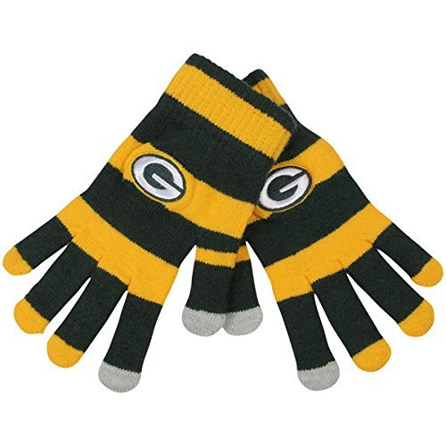 Official NFL Football Licensed Knit Stripe Glove with Texting Tips, One Size, GREEN BAY PACKERS by FOCO