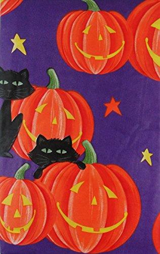 Black Cats on Jack-O-Lanterns Halloween Vinyl Flannel Back