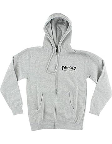 358e5b4c0c8a Thrasher Magazine Skate Mag Zip Heather Grey Hooded Sweatshirt - Large