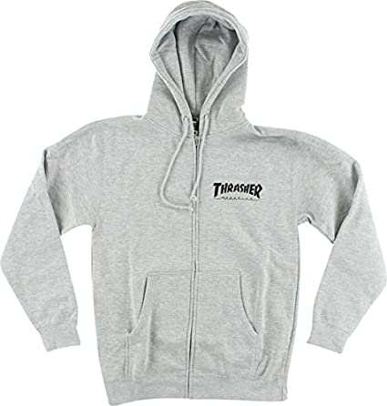 e8dcce13efe Image Unavailable. Image not available for. Color  Thrasher Magazine Skate  Mag Zip Heather Grey Hooded Sweatshirt ...
