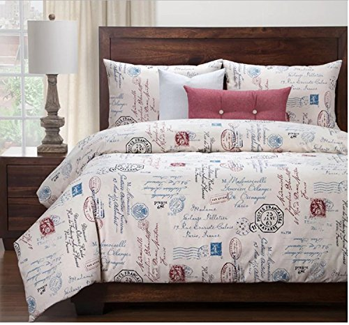 6 Piece Boys French Postal Linen Pattern Duvet Cover Set Cal King Set, High-End Luxury Motivational Quotes & Sayings Themed Bedding, Typography Design, Vintage Style, Cotton, Off-White Blue Red by SE