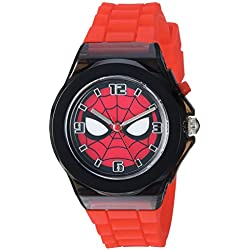 Marvel Boy's Quartz Plastic and Silicone Casual Watch, Color:red (Model: SPD9031)