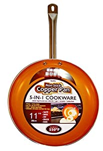 """Copper Frying Pan 12"""" Inch Non Sick Ceramic Infused Titanium Steel Oven Safe, Dish Washer Safe, Scratch Proof"""