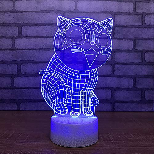 - GBBCD Night Light Led 7 Color Change Kid Bedside Desktop 3D Night Light Cartoon Cat Modelling USB Desk Table Lamp Bedroom Decoration Lighting Gift