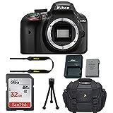 Nikon D3400 DSLR Camera Body Only Kit + 32GB Memory Card + Camera Carrying Bag + Tripod (Certified Refurbished)