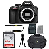 Nikon D3400 DSLR Camera Body Only Kit + 32GB Memory Card + Camera Carrying Bag + Tripod (Certified Refurbished) For Sale