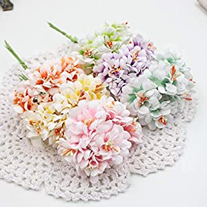 GSD2FF 6pcs Silk Gradient Stamen Artificial Flower Bouquet for Wedding Decoration DIY Decorative Wreath Fake Flowers 23