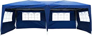 10x20 Ft Easy Pop up Canopy, Waterproof Party Tent, Adjustable Height Outdoor Gazebo w/ 6 Removable Sidewalls & 4 Windows for Patio Backyard Porch Garden Beach, Carry Bag Included (Blue)