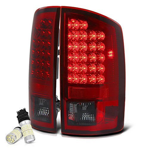 VIPMOTOZ Smoke Red Lens Premium LED Tail Light Housing Lamp Assembly For 2002-2006 Dodge RAM 1500 2500 3500 Pickup Truck - Full SMD LED Reverse Bulbs Included, Driver & Passenger Side Replacement Pair