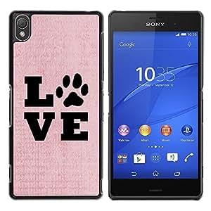 Be Good Phone Accessory // Dura Cáscara cubierta Protectora Caso Carcasa Funda de Protección para Sony Xperia Z3 D6603 / D6633 / D6643 / D6653 / D6616 // Live Love Pet Dog Canine Pin