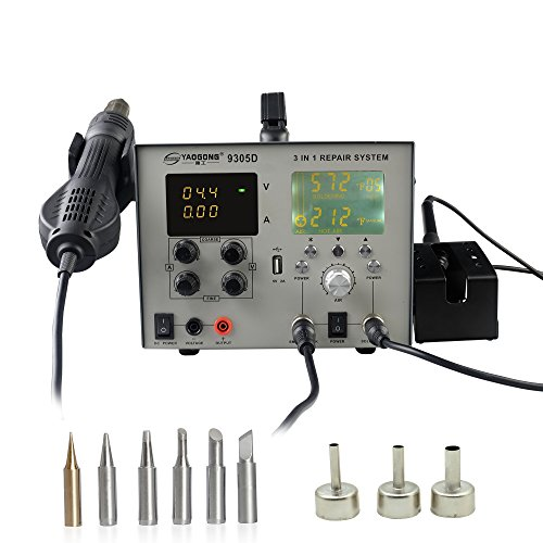 YAOGONG 9305D# Brushless 4 in 1 Digital LCD SMD Rework Station Power Supply 30V 5A With USB Automatic Soldering Iron and Air Gun(Auto/Manual Settings)