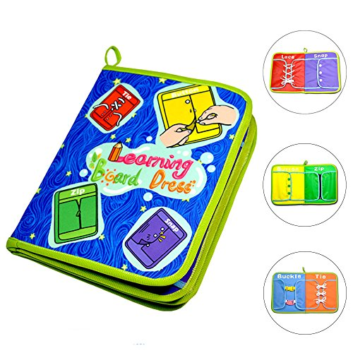 SETmell Early Learning Basic Life Skills Toys Quiet Book,Montessori Learn to Dress Boards- Zip, Snap, Button, Buckle, Lace and Tie,Educational Toy for Baby Toddlers Children