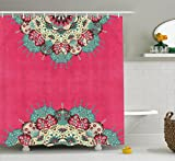 Bohemian Curtains Indian Decor Mandala Nepal Hippie Abstract Artwork Hippy Traditional Psychedelic Bohemian Ethnic Grunge Pink Fuchsia Beige Red Violet Green Home Bathroom Design Fabric Shower Curtain